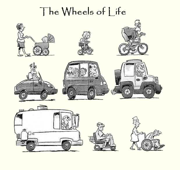 Image d'humour sur les véhicules utilisés depuis la naissance